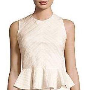 Rebecca Taylor Textured Sleeveless Peplum Top